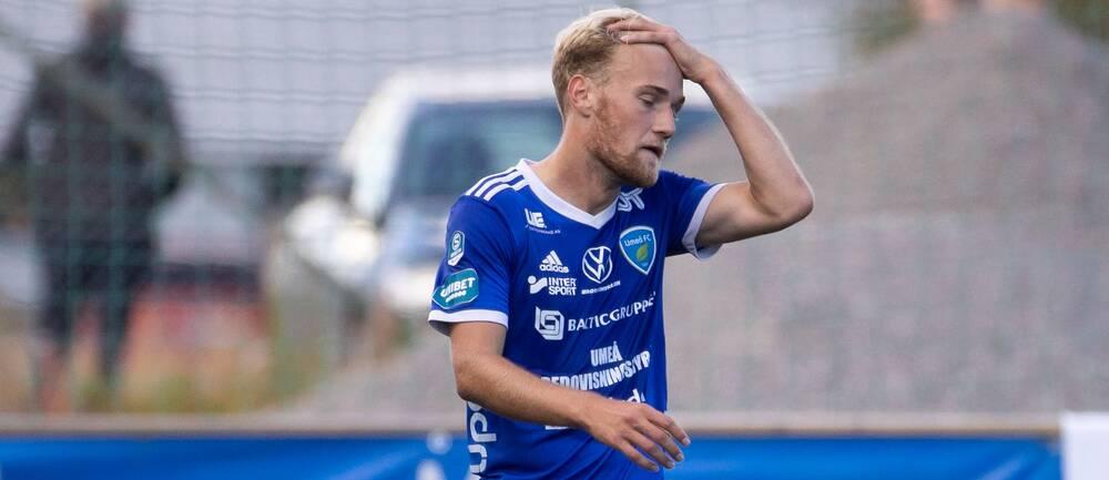 Umeås Jens Stigedahl deppar efter fotbollsmatchen i Superettan mellan Umeå FC och Brage den 6 september 2020 i Umeå.