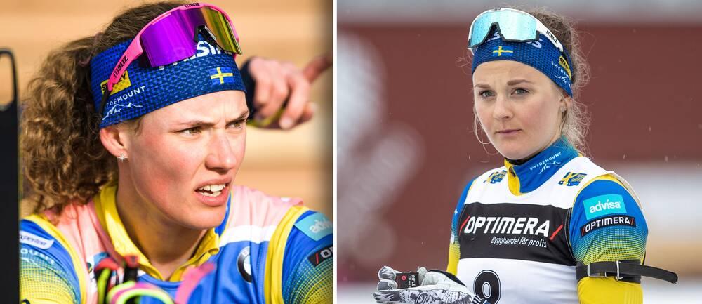 Skidskyttarna Hanna Öberg och Stina Nilsson.