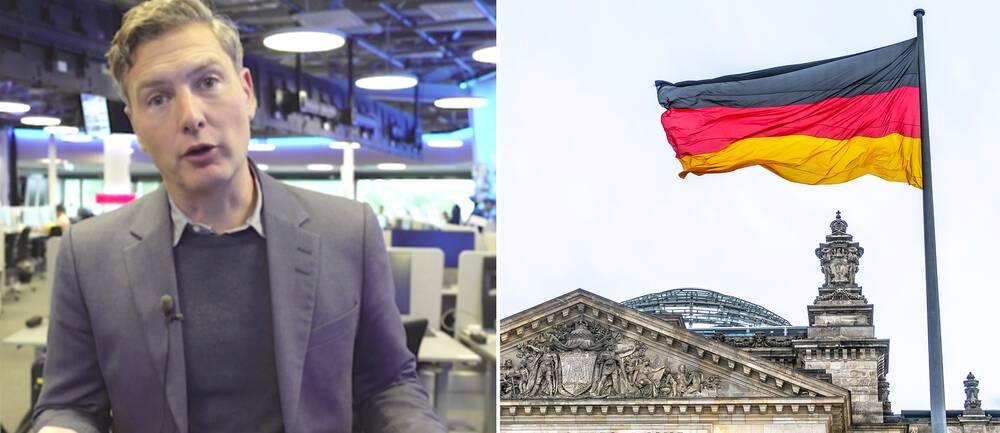 SVT:s utrikesreporter Christoffer Wendick och en tysk flagga.