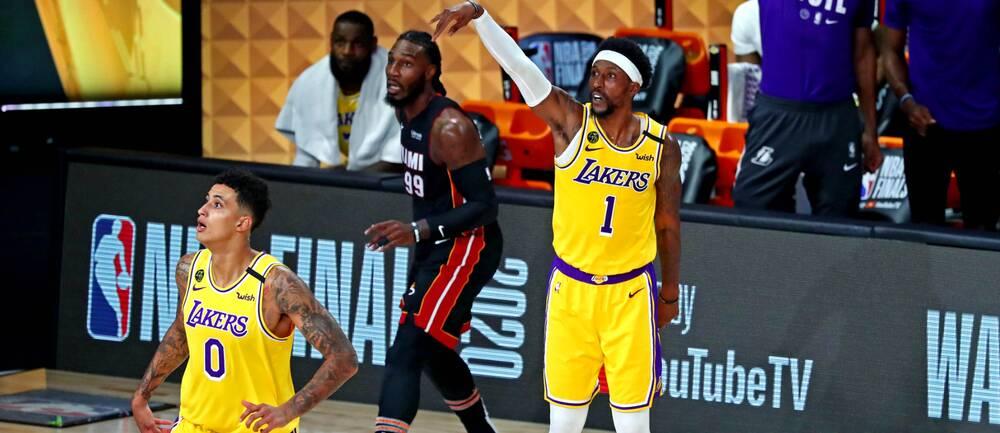Los Angeles Lakers vann den första NBA-finalen mot Miami Heat.