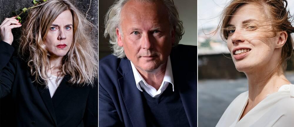 Splitbild på Annika Norlin, Klas Östergren och Lydia Sandberg.