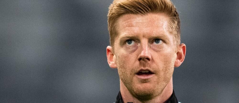 Malmö FFs Anders Christiansen under uppvärmningen inför fotbollsmatchen i Allsvenskan mellan Djurgården och Malmö FF den 19 oktober 2020 i Stockholm.