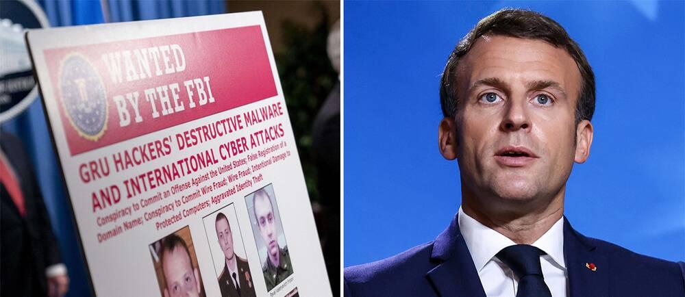 FBI:s bilder på de sex misstänkta ryska underrättelseagenterna/Frankrikes president Emanuel Macron