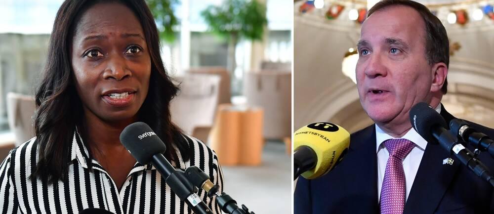 Bilden visar Liberalernas partiledare Nyamko Sabuni som ställer sig bakom den nya överenskommelsen mellan PTK och Svensk näringsliv. Statsminister Stefan Löfven (S) säger att man ska analysera förslaget.