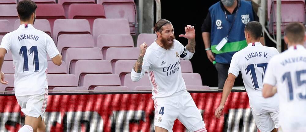 Sergio Ramos (mitten) blev matchvinnare för Real Madrid.