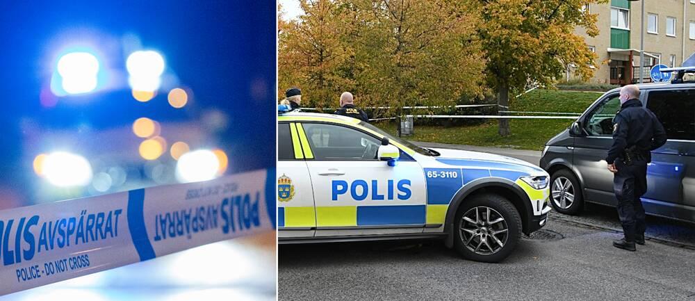 Bilden visar en polisbil med blåljus och ett avspärrningsband samt en utryckning där ett misstänkt farligt föremål hittats på Von Linges väg på Rosengård i Malmö.