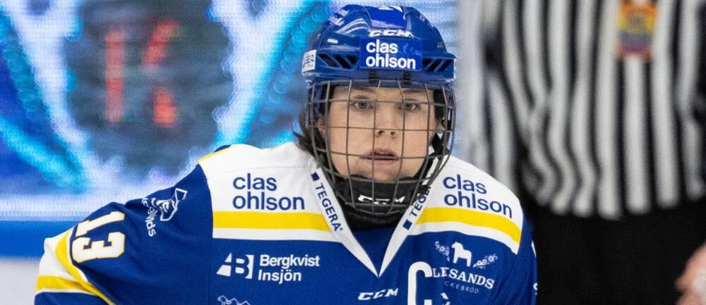 Leksands Hanna Sköld under kvartsfinal 1 i ishockeymatchen i SDHL mellan Leksand och HV71 den 19 februari 2020 i Leksand.