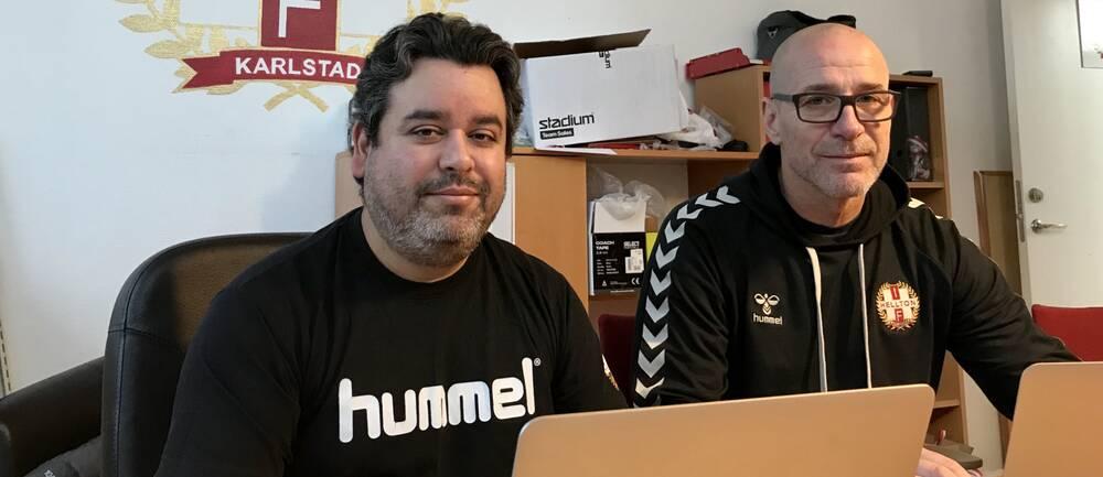 Richard Backlund och Jonas Thörn på IF Helltons kansli.