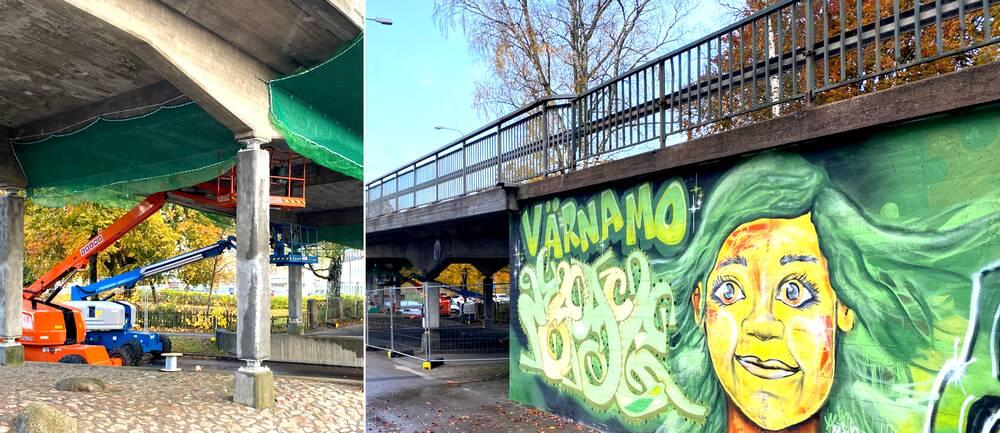 """Bilden är ett collage. Den vänstra sidan föreställer två skyliftar som står under en bro. Undersidan av bron är täckt av grönt nät och det ser ut som om de håller på med renoveringsarbete. Den högra sidan föreställer en vägg, vid samma bro som, som målats med graffiti. Väggmålningen är grön och föreställer ett kvinnoansikte med grönt hår. På hennes vänstra sida står det skrivet """"Värnamo""""."""