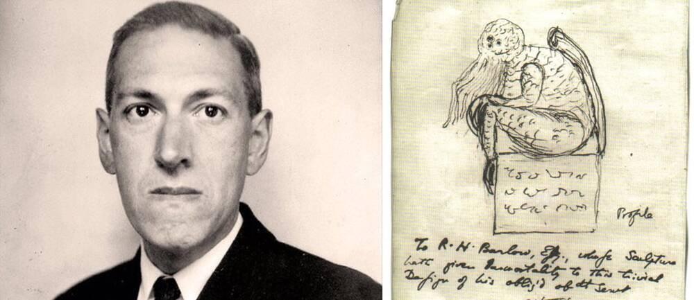 Författaren H.P. Lovecraft och en av hans skisser av Cthulhu.