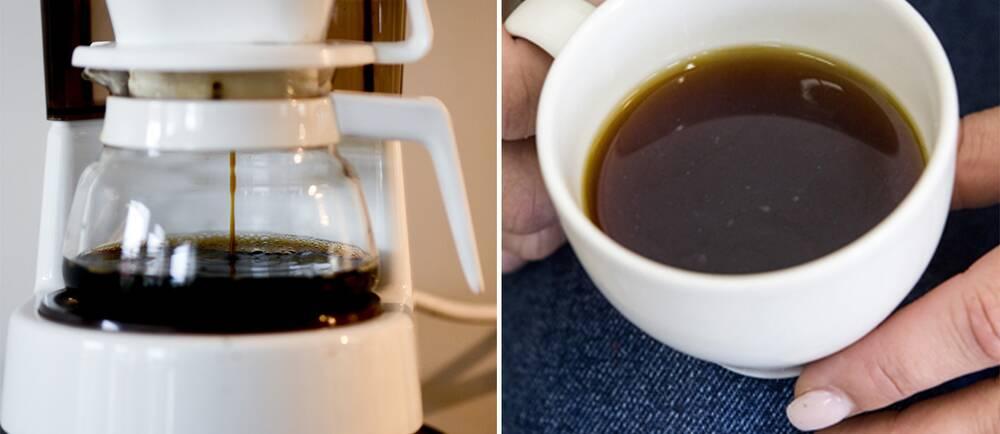 Kaffebryggare och en koppkaffe.