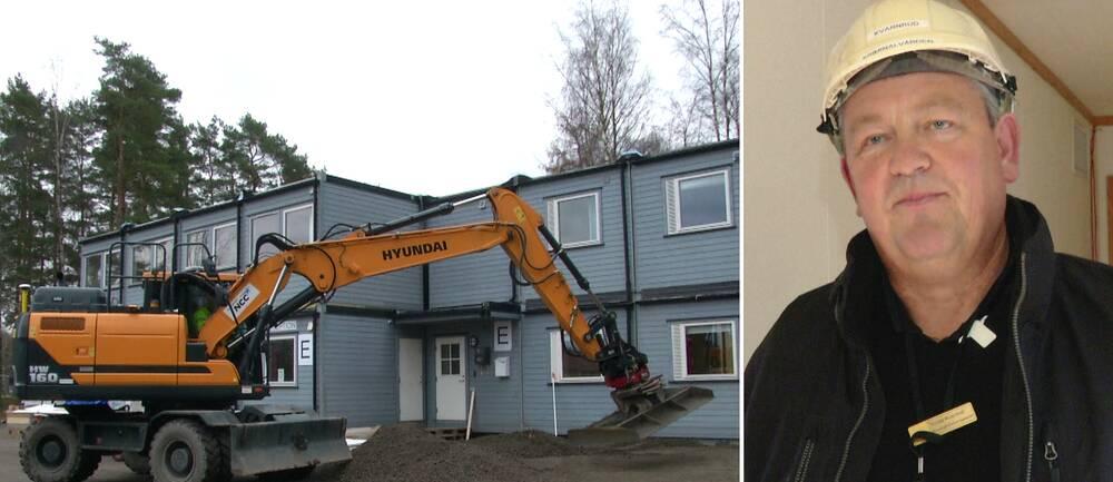 Här visar kriminalvårdsinspektören Tomas Kvarnrud runt i de nya modulhusen.