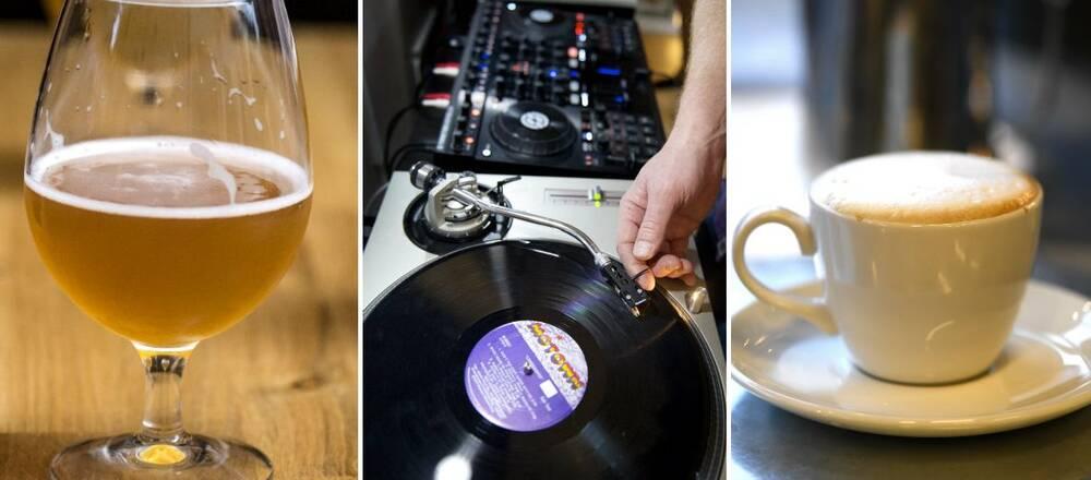Tre bilder med ett ölglas, en DJ som spelar skivor samt en kaffekopp.