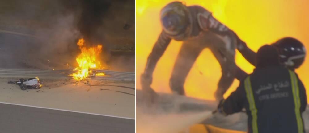 Formula 1-föraren Romain Grosjean flyr ut ur den brinnande bilen.