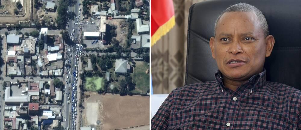 Satellitbild över Mekele samt bild på TPLF:s ledare Debretsion Gebremichael.
