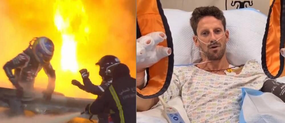 Romain Grosjean har skickat en hälsning från sjuksängen.