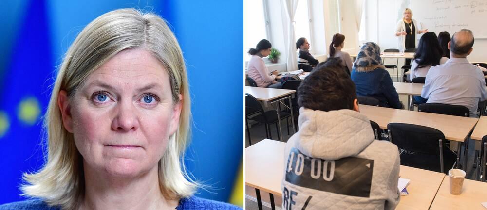 Finansminister Magdalena Andersson (S). Till höger språkundervisning på SFI.