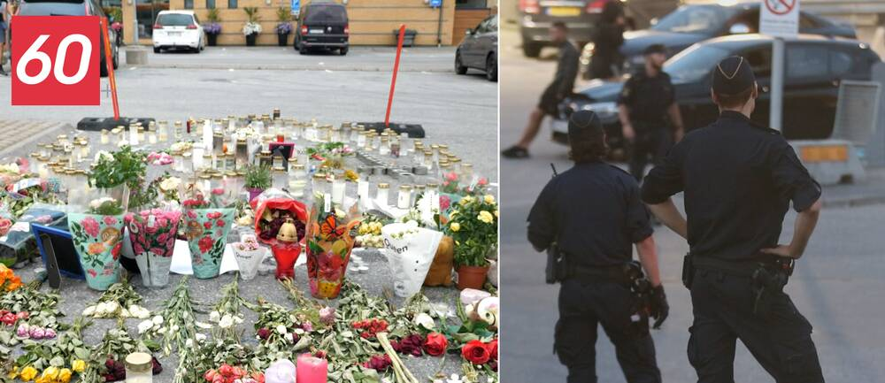 Till höger minnesplats vid mordplatsen. Till vänster poliser vid mordplatsen i samband med utredningen.