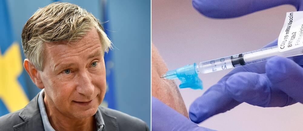 Montage. Sveriges vaccinsamordnare Richard Bergström och en vaccinationsspruta.