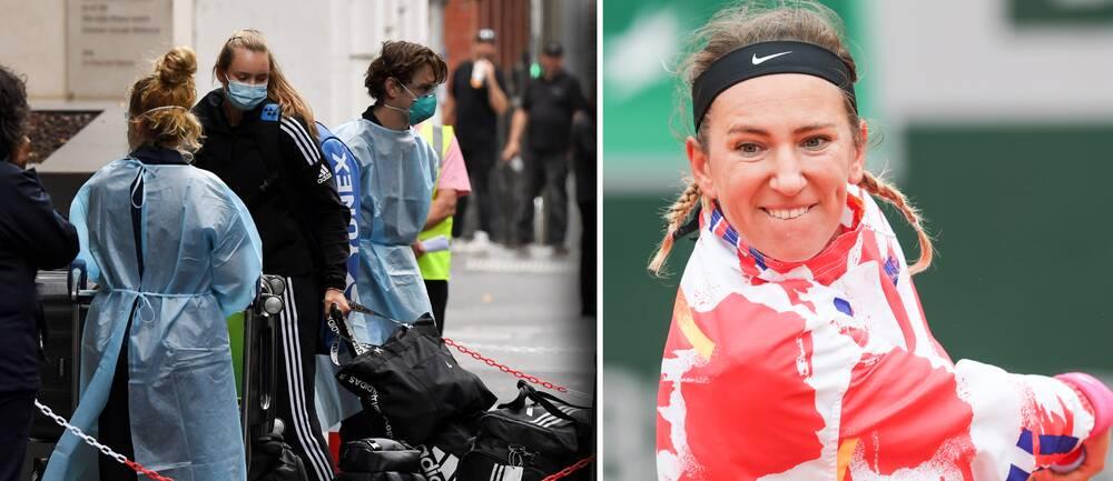 Spelarna anländer till ett hotell i Melbourne där de måste stanna på hotellrummet i två veckor i en strikt karantän. Till höger: Victoria Azarenka.