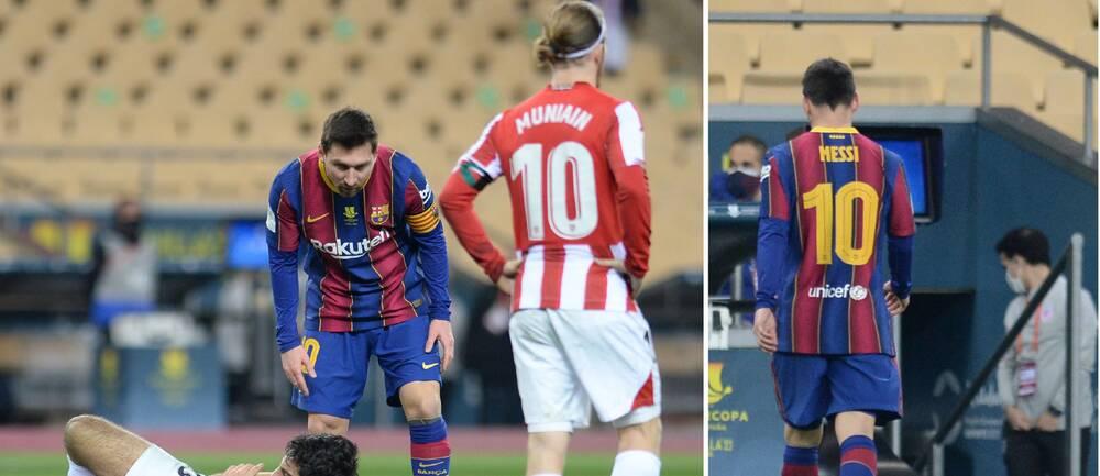Leo Messi blir utvisad i förlängningen av spanska supercupen mot Athletic Bilbao.
