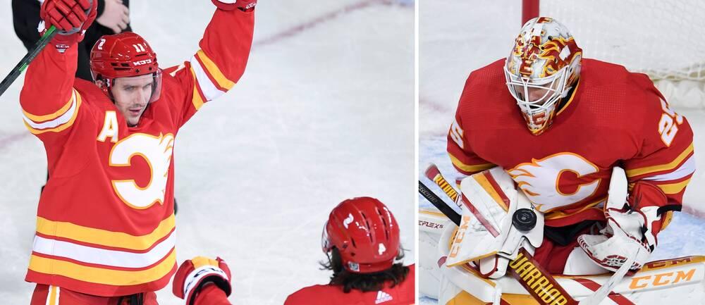 Calgarys Mikael Backlund firar sitt mål ihop med Rasmus Andersson.