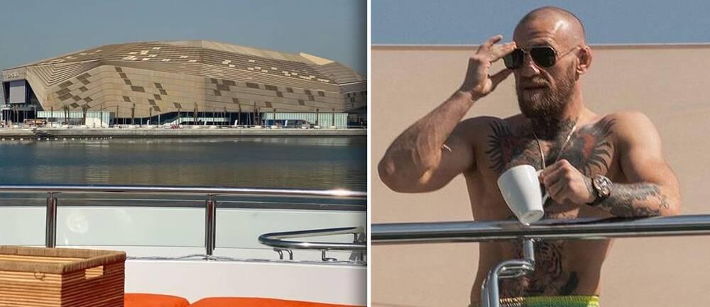 Conor McGregor bor just nu på en lyxyacht i Abu Dhabi precis utanför arenan där han fajtas i helgen.