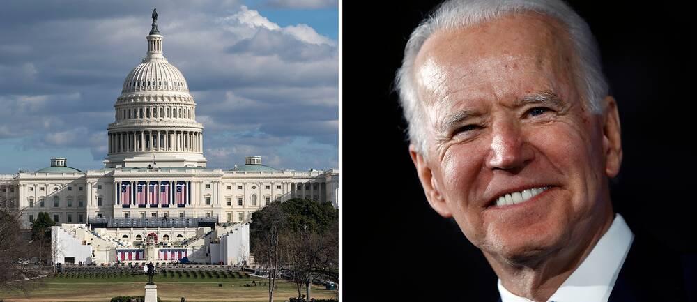 Capitolium och Joe Biden.