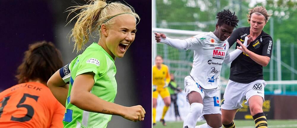 Pernille Harder och Temwa Chawinga.