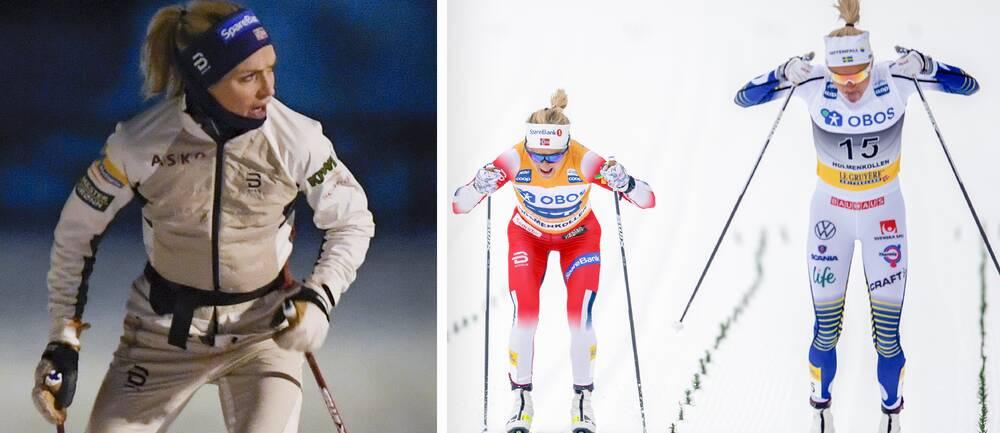 Therese Johaug och det norska laget anlände till Falun redan under måndagen (t v).