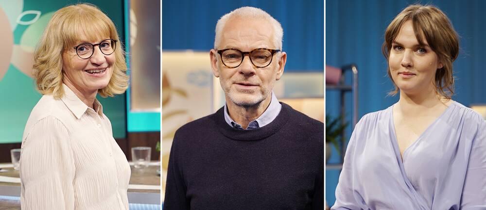 Therese Eskilsson, sjukgymnast och forskare, Mats Lekander, professor i hälsopsykologi och Clara Lidström,författare och influencer i Fråga doktorn hälsa.