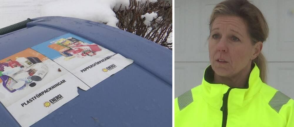 Till vänster en soptunna med två olika logotyper och till höger en avdelningschef på Karlstad energi.