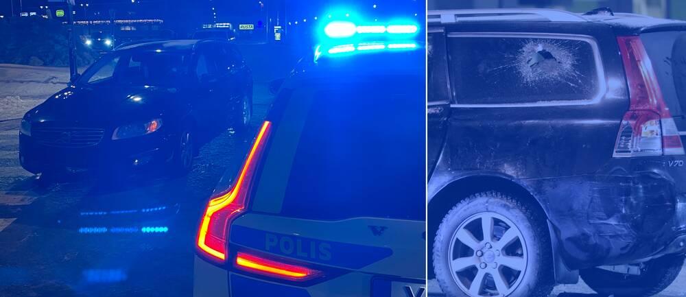Både bilen som polisen följde efter och tre polisbilar skadades när den misstänkta rattfylleristen stoppades i Järfälla.