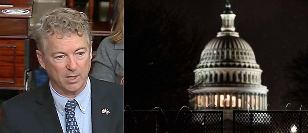 Den republikanske senatorn Rand Paul (t.v) argumenterade för att riksrättsprocessen mot Donald Trump bryter mot konstitutionen.