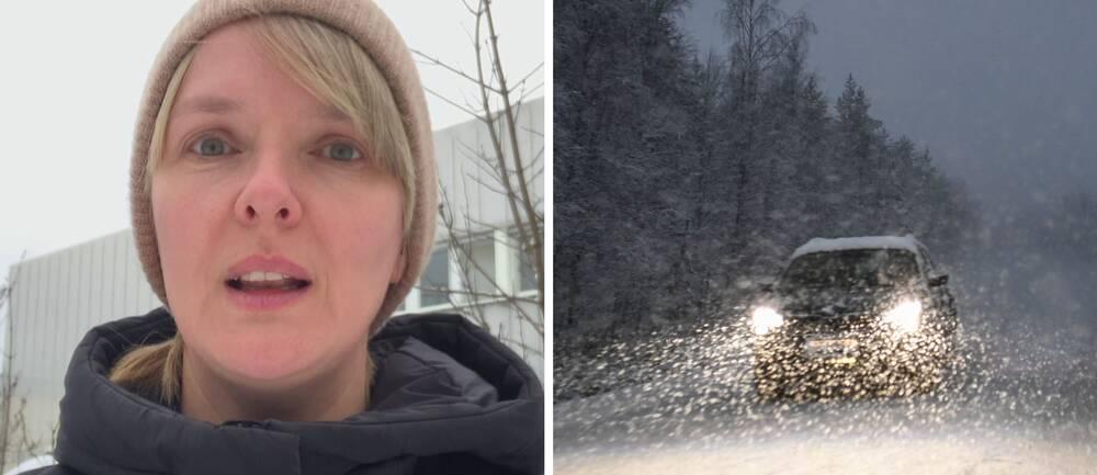 meteorolog Jannike Geitskaret och en bil i snöfall