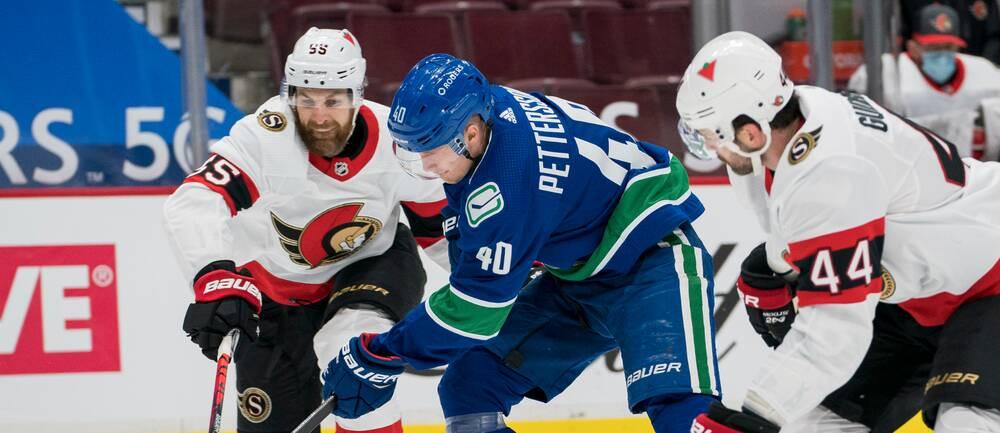 Elias Pettersson gjorde två poäng mot Ottawa.