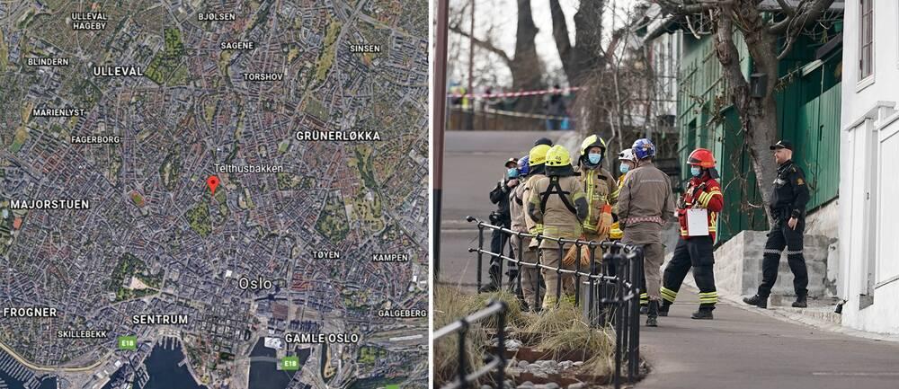 Flera bostäder evakueras efter ett jordskred i centrala Oslo.