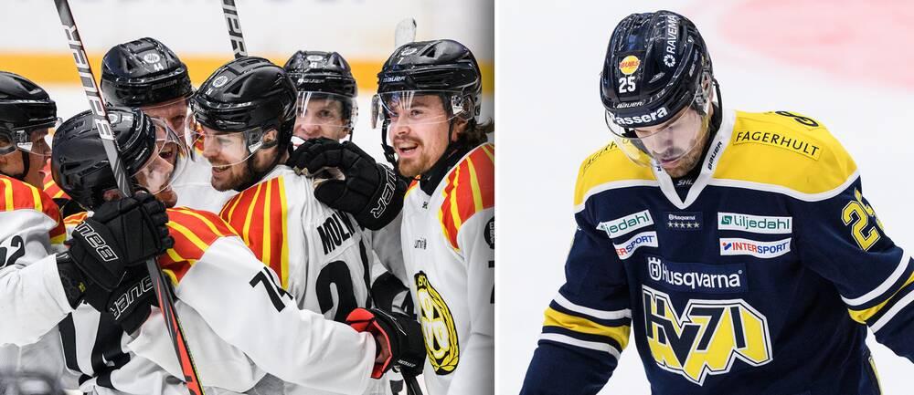 Vänster: Brynäs-jubel efter Emil Molins 2-1. Höger: HV71:s Axel Holmström deppar.