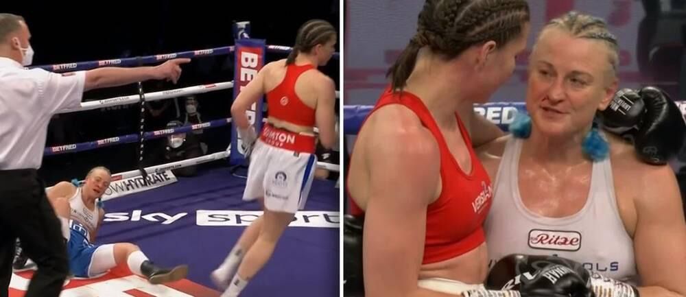 Maria Lindberg, i vitt, blev knockad av WBO-mästaren Savannah Marshall i London.