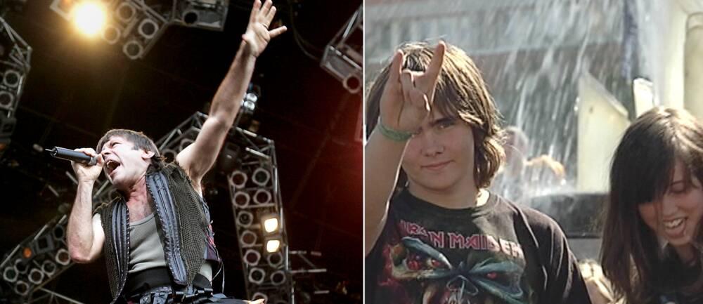 Till v: Bruce Dickinson, sångare i Iron Maiden. Till h: Två maidenfans i Göteborg 2011.