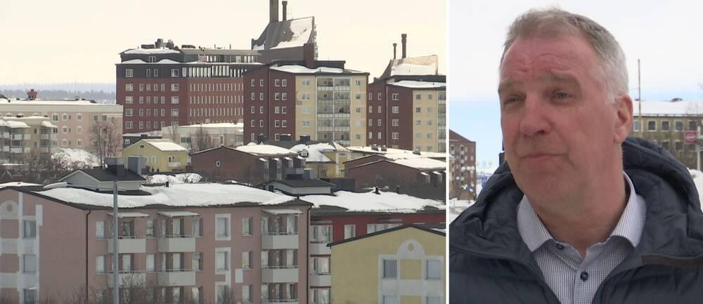 stadsvy över hus med lägenheter i Kiruna, samt närbild på mäklaren Peter Barsk – en medelåldersman
