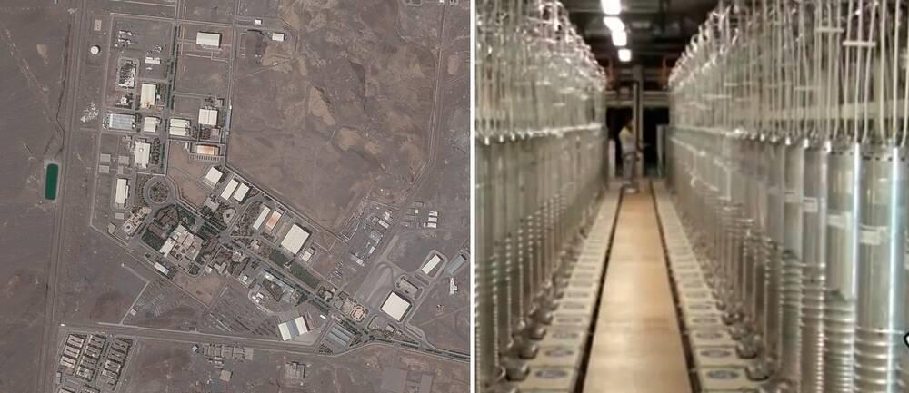 Bilden visar en flygbild samt en hall inne på kärnanläggningen i Natanz i Iran.
