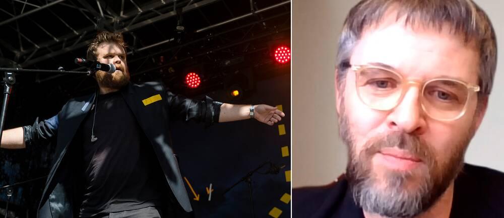 Artisten Loney dear samt Martin Vårdstedt, ansvarig utgivare för SVT:s Kulturstudion.