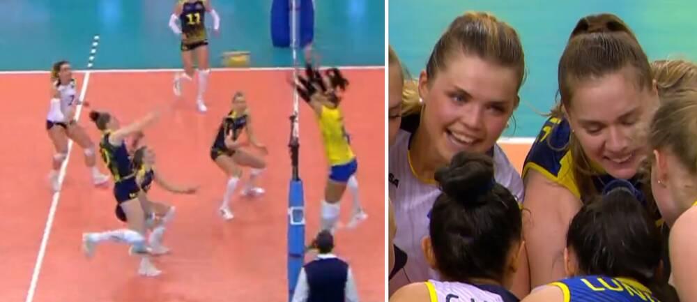 Isabelle Haak smashade in matchbollen i EM-kvalet mot Ukraina.