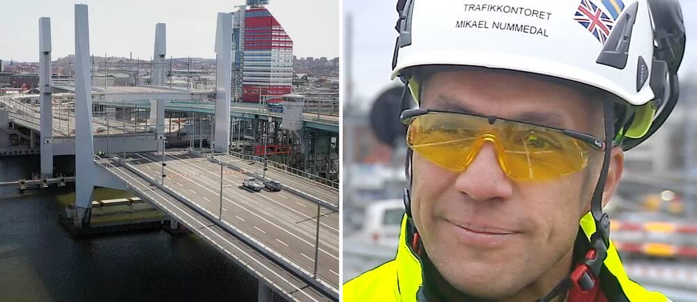 Starta klippet för att se drönarbilderna från nya Hisingsbron – ett miljardprojekt som Trafikkontorets projektchef Mikael Nummedal konstaterar har stött på en del problem under tiden