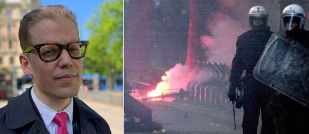 Till vänster i bild: Glasögonprydd man tittar in i kameran. Till höger: Kravallutrustad polis på en rökfylld gata.