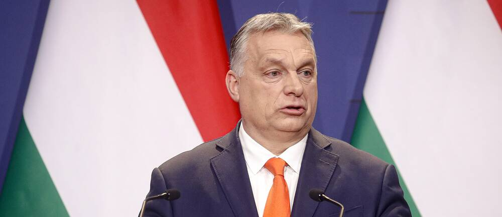 Ungerns premiärminister Viktor Orban i kostym framför två ungerska flaggor. Han tittar åt sidan och gestikulerar med händerna.