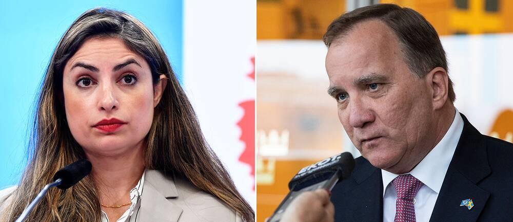 Vänsterpartiets ledare Nooshi Dadgostar (V) /statsminister Stefan Löfven (S):