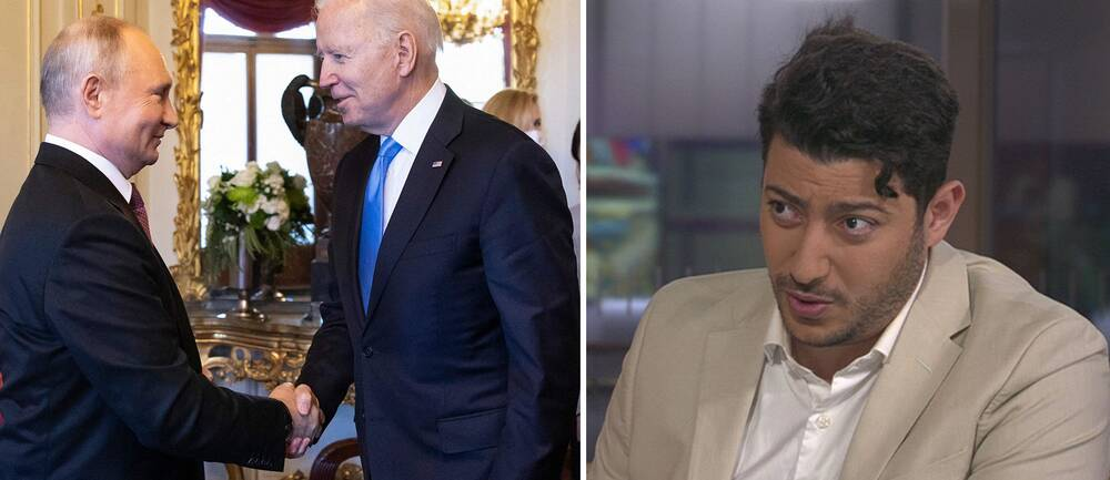 Vladimir Putin och Joe Biden skakar hand vid sitt möte i Gèneve / SVT:s utrikesreporter Fouad Youcefi.