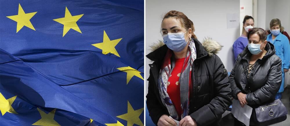 EU-flaggan/Kvinnor i vaccinationskö i Rumänien